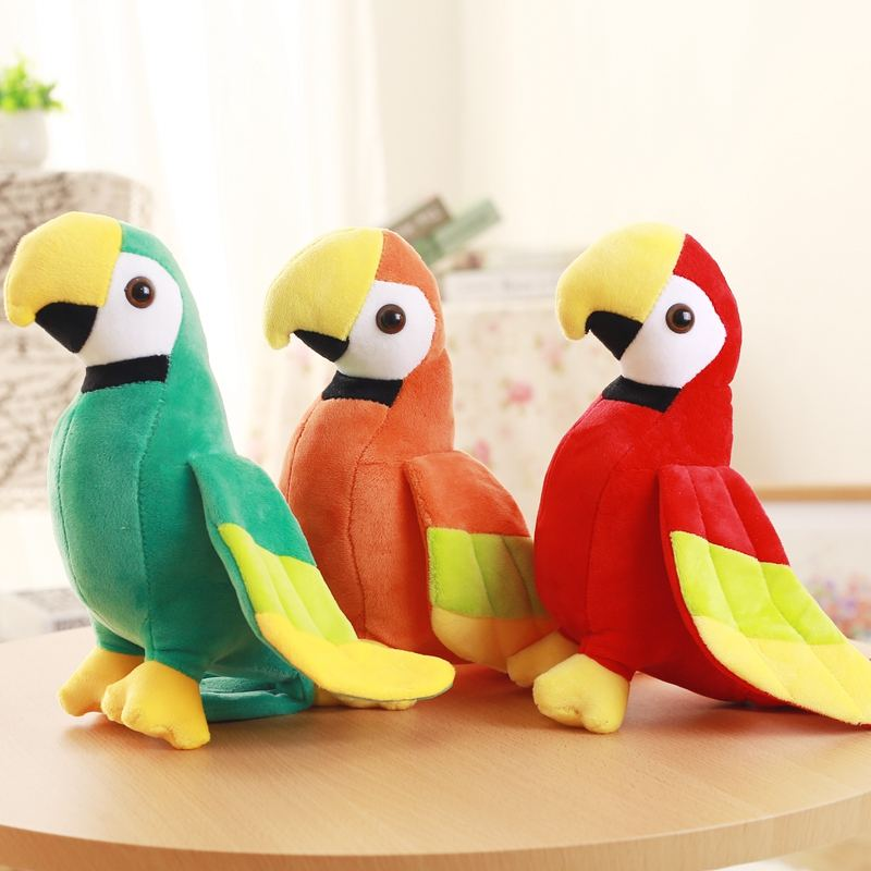 20 cm stock promotional custom stuffed parrot green red orange parrot soft animals cute cheap parrot plush toy