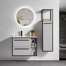 Hotel Modern Furniture Smart Round Mirror Single Ceramic Basin Wall Hanging Floating Mdf Bathroom Vanity With Side Cabinets