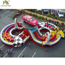 Large City Inflatable Racing Car Sport Game Inflatable Obstacle Course