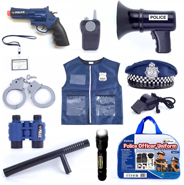 High quality 14 pcs kids police uniform role play halloween theater children costumes for play dress up