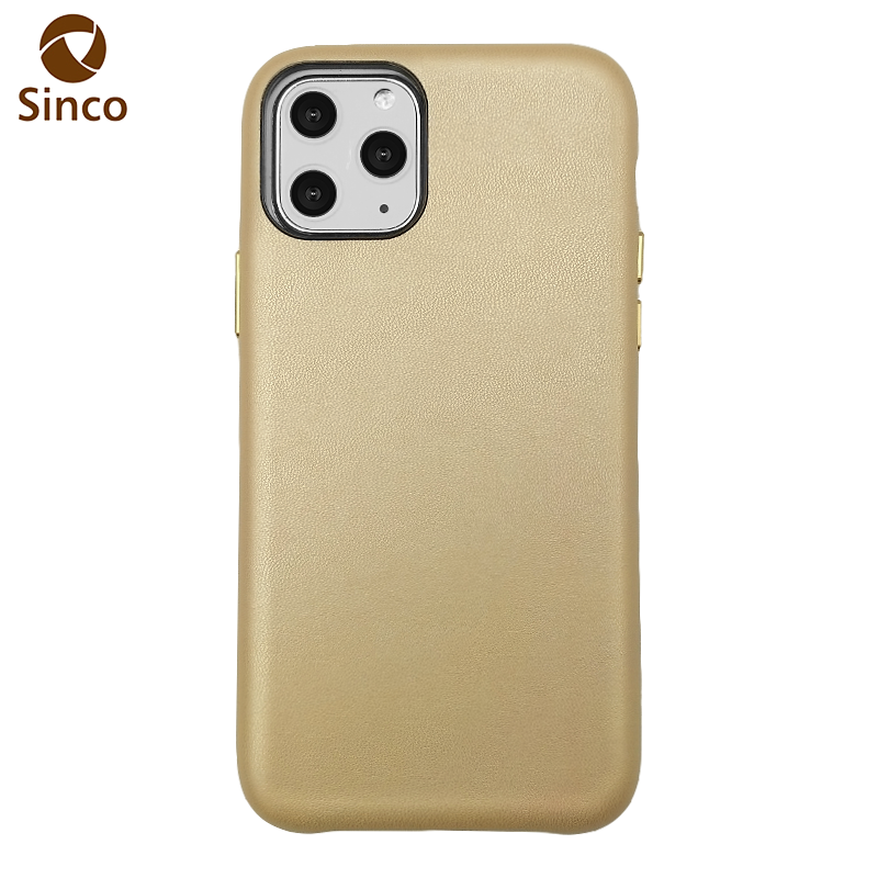 Full wrapped top grain plain smooth leather mobile phone PU leather cases and covers for iphone 11 PRO MAX