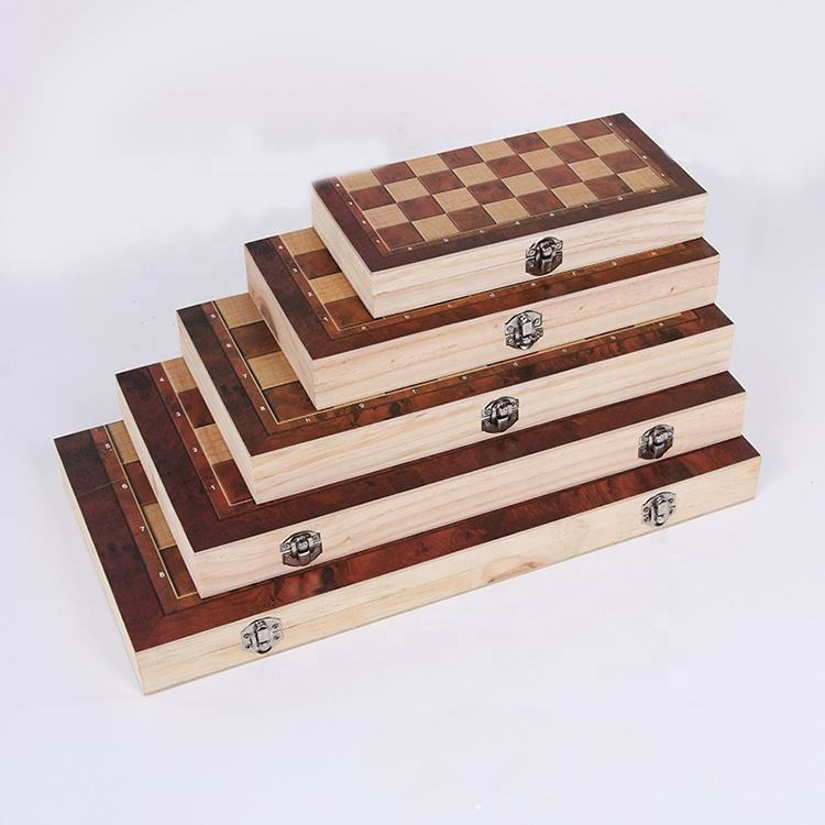 Foldable wooden chess 3 in 1 high quality checker backgammon chess game set