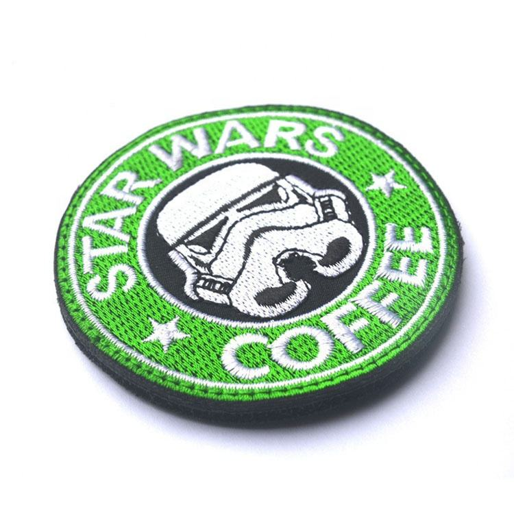 Wholesale Hot Sell Cheap Custom StarWars Coffee Hand Embroidered Patches For Clothing