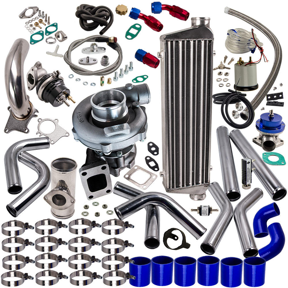 "T3 T4 T3/T4 T04E Universal Turbo Turbocharger Kit Stage III 350HP Upgrade+Wastegate + 2.5"" Turbo Intercooler+ BOV + Piping kit"