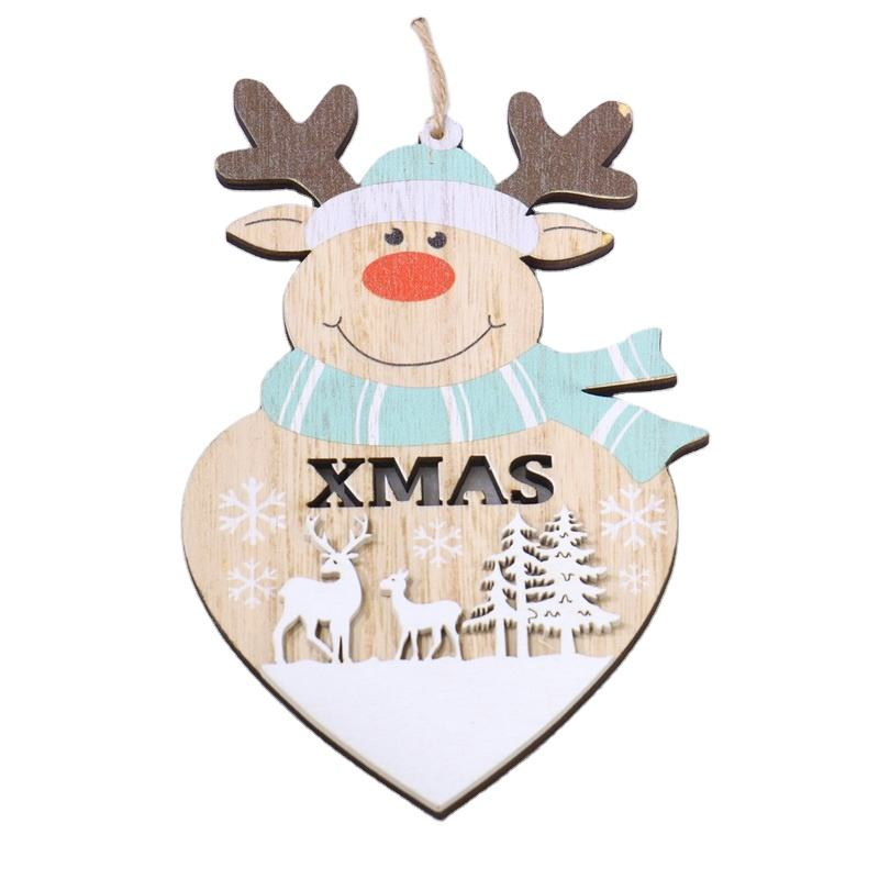 Cusomized designs wholesale Christmas wood decorations laser cut Xmas wood deer with painted