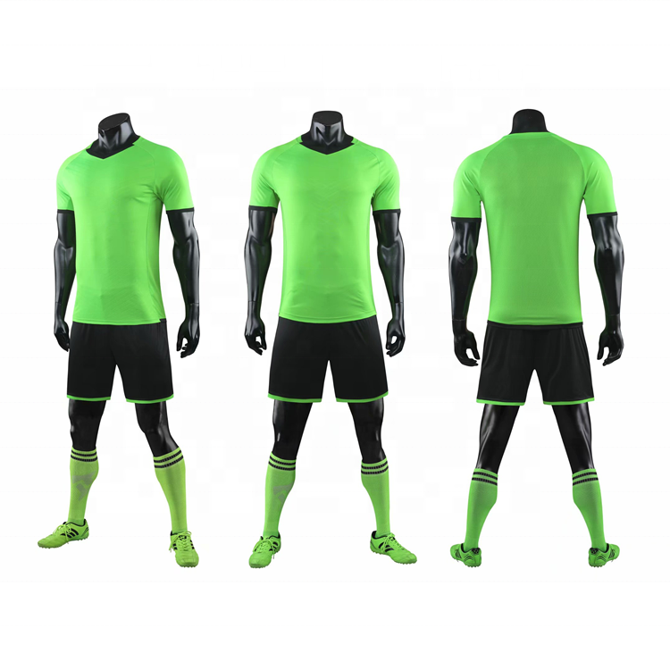 2020 Stylish Unisex Football Kits Top Quality Wholesale Blank Design Soccer Jersey Green