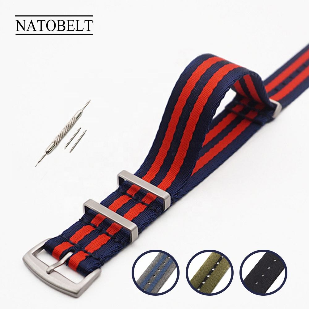 Premium Watch Strap Custom Buckle 20 22 mm Watch+bands Striped Wrist Bracelet Nato Strap Army Sport Watch Bands Nylon