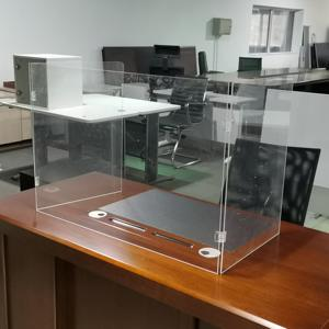 Acrylic plexiglass screen desk partition 3 Sided Sneeze Guard Shield for Cashier