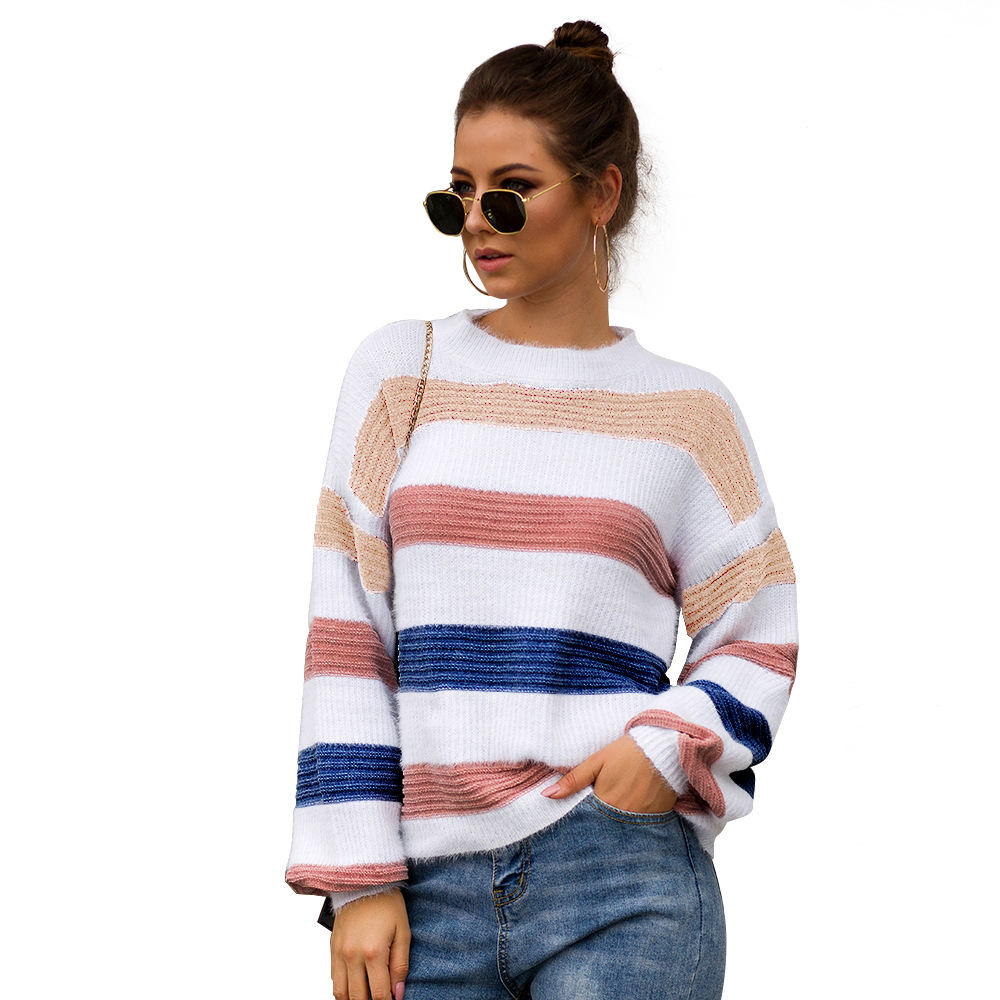 Women Loose Knitted Pullover Colorful Rainbow Stripe Slit Sweater