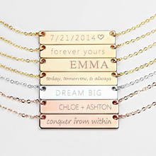 925 Sterling Silver Personalized Bar Pendant Necklace Engraved Any Name Letter Symbols Necklace