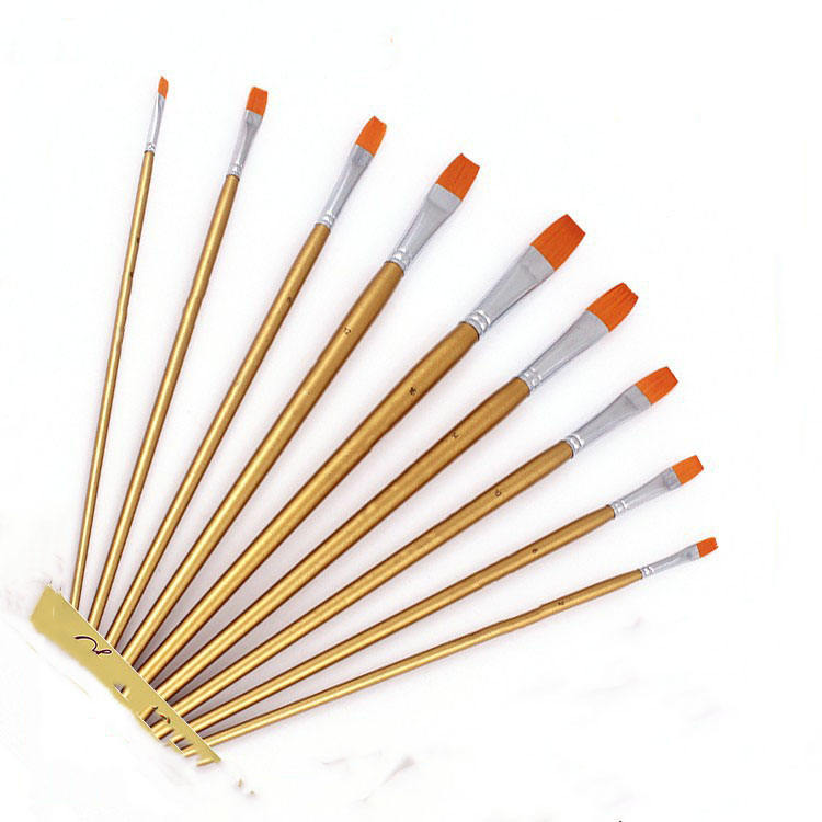 Hot sale 9 pcs artist Paint Brush Art Supplies Travel Paint Brush Set Professional oil watercolor acrylic paint brush set