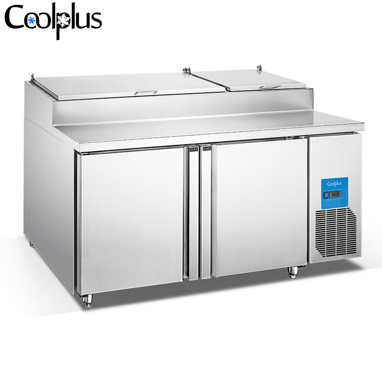 Bakery Counter Chiller Salad Top 2 Solid Door Refrigeration For Dough Cake Bread