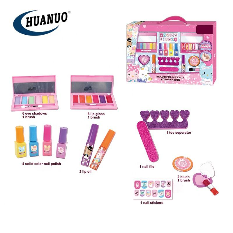 cosmetic set real children toys makeup nail art make up for kids girl