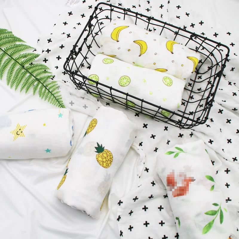 i@home cartoon printed new born bath towel bamboo baby wrap swaddle cotton blanket muslin
