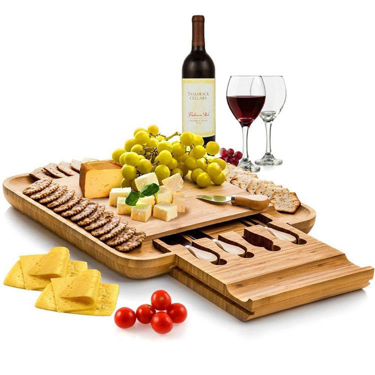 Wholesale Wooden Food Chop Bamboo Cheese Board With Knife Set