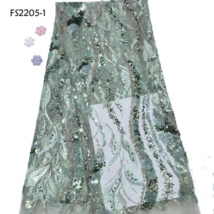 Elegant Dress Korean Lace Fabric With Sequins Water Green Sequence Net Lace Embroidered Tulle Laces
