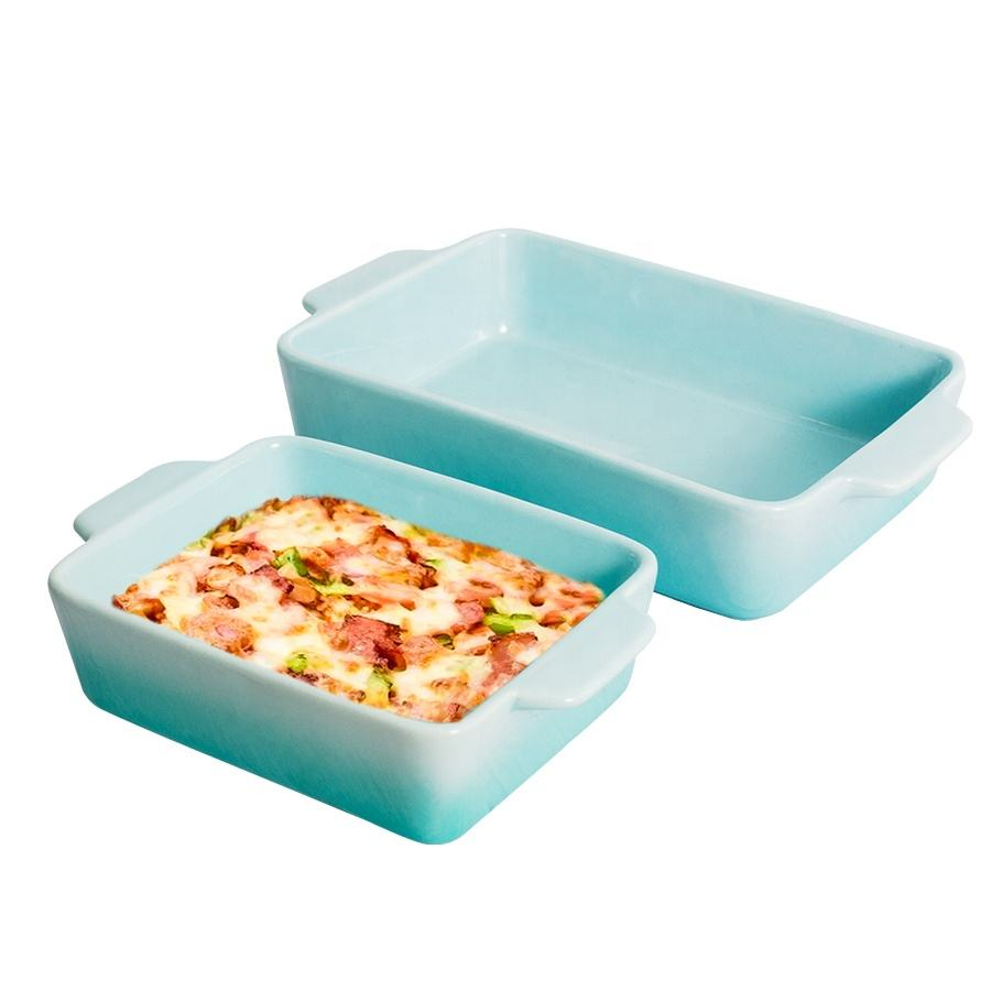 Custom Rectangular Bakeware Set Porcelain Baking Pan Ceramic Baking Tray Lasagna Pans for Kitchen