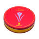 Custom Logo Red Gold Color Metal Gift Box Cute Round Cookie Chocolate 25g 50g Saffron Tin Can