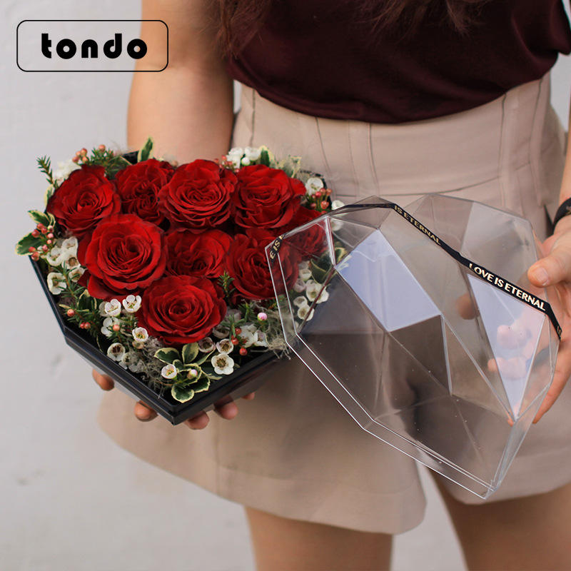 Tondo wholesale heart flower box rose luxury flower box acrylic luxury box packing for preserved roses