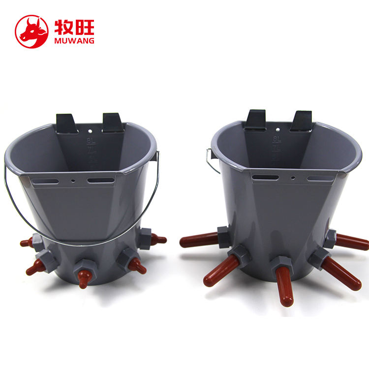 dairy farm equipment pp 8L plastic bucket with nipples for feeding livestock calf feeding bucket