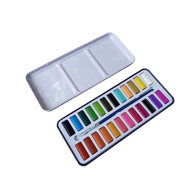 Factory Direct 24 solid water color set cake with brush China art supplies