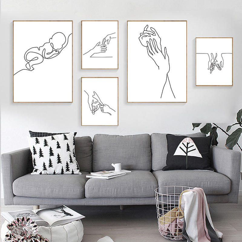 Minimalist Line drawing Canvas Oil Modern Art Paintings For Home Decoration