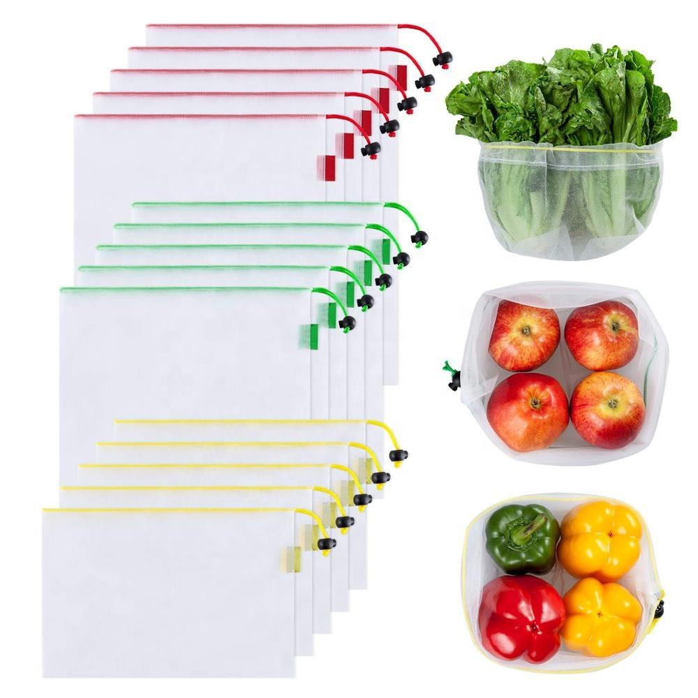15 pack 3 sizes Daily Use Foldable Grocery Shopping Bags RPET Reusable Produce Bags