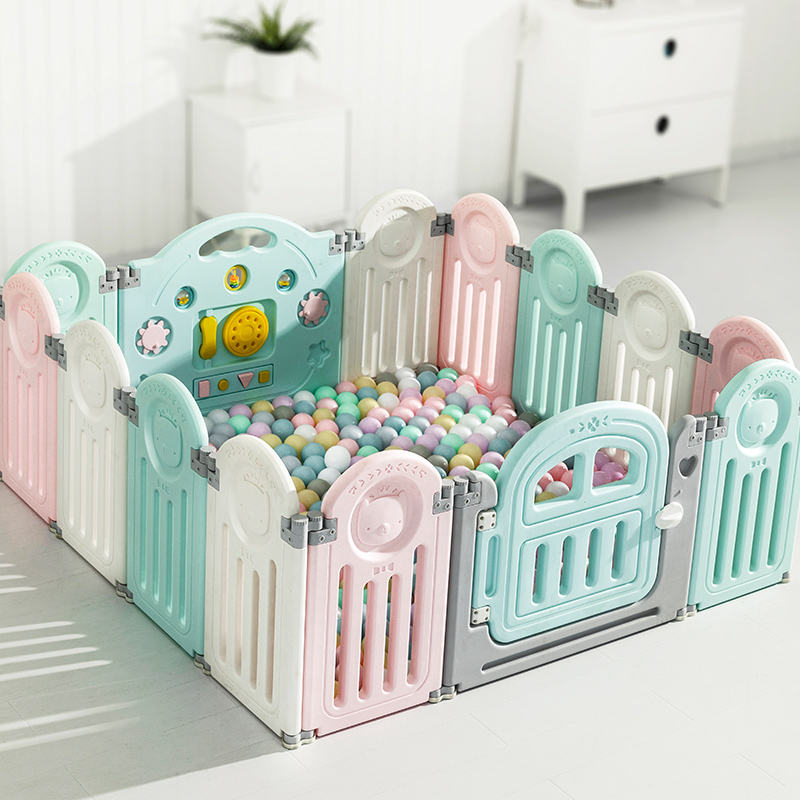 Foldable safety colorful Baby playpens with safety gate and game piece