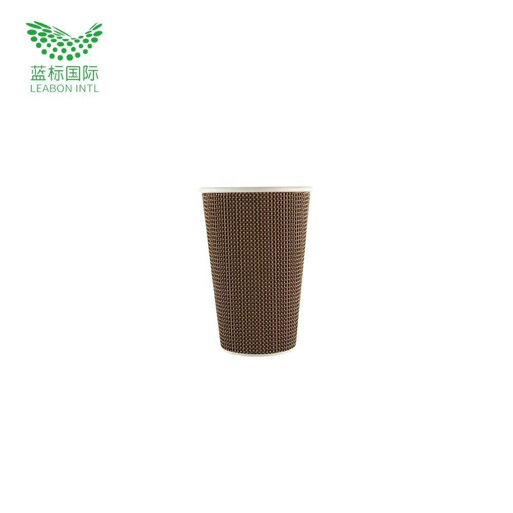 Comfort taking 12oz paper cover double wall cup with Ripple Double Wall in Brown for Protect Fingers from Heat
