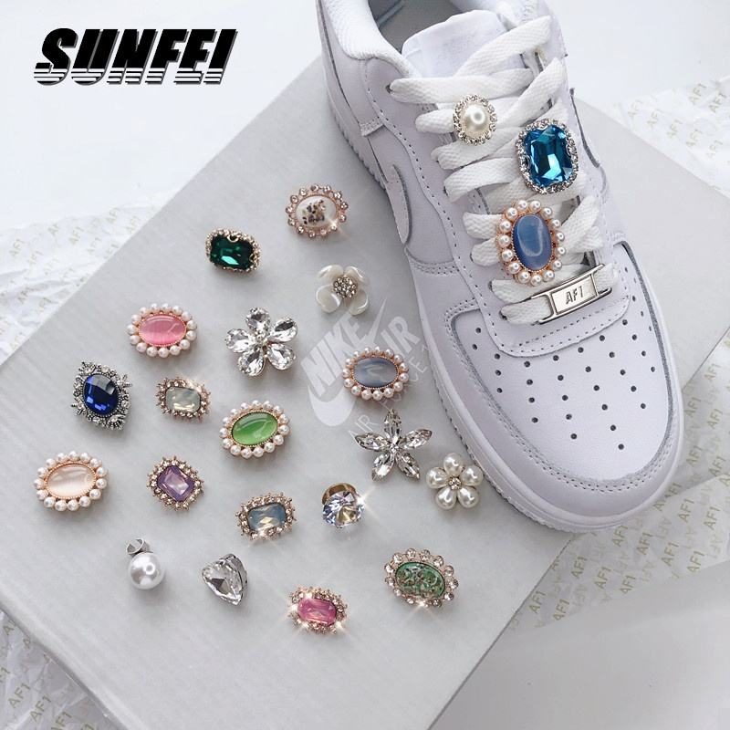 custom personalize metal Shoelaces decoration jewelry Charm AF1 shoes buckle crystal shoes accessories clips for women