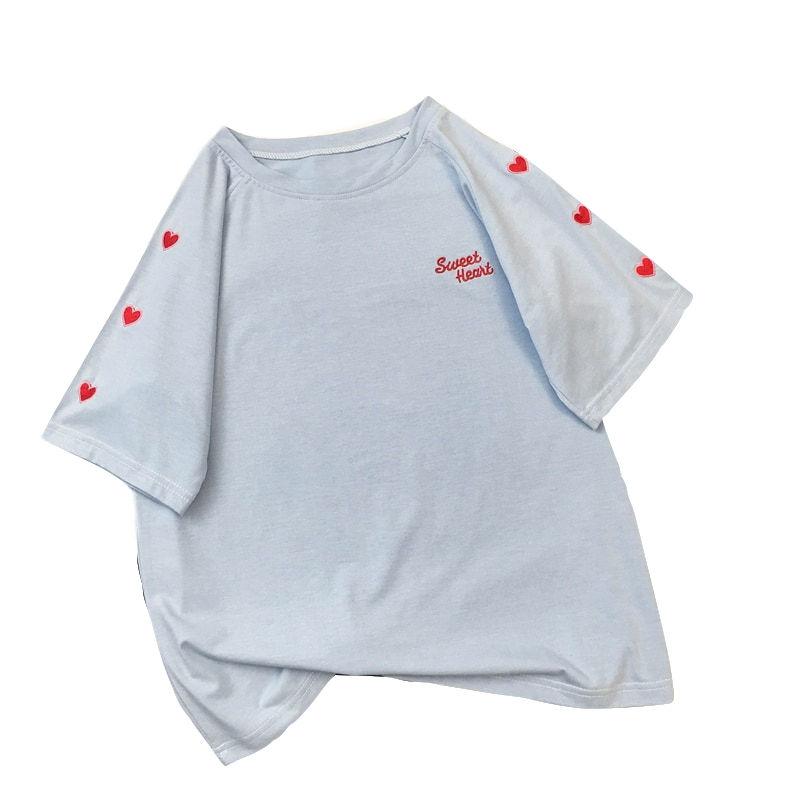 Women T shirt Harajuku Kpop Style Hearts Embroidery Short Sleeve Cotton Summer Tops Kawaii Preppy Style Cute Tshirt Wholesales