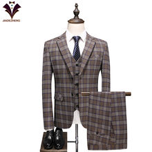 2019 Men's Groom Wedding Dress Plaid Formal Suits Set Men Fashion Casual Business Suit 3 piece