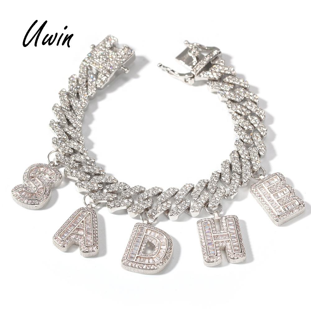 Custom Baguette Letter Charm Bracelet DIY Initial Name Necklace Personalize Rapper Jewelry Dropshipping Wholesale Price