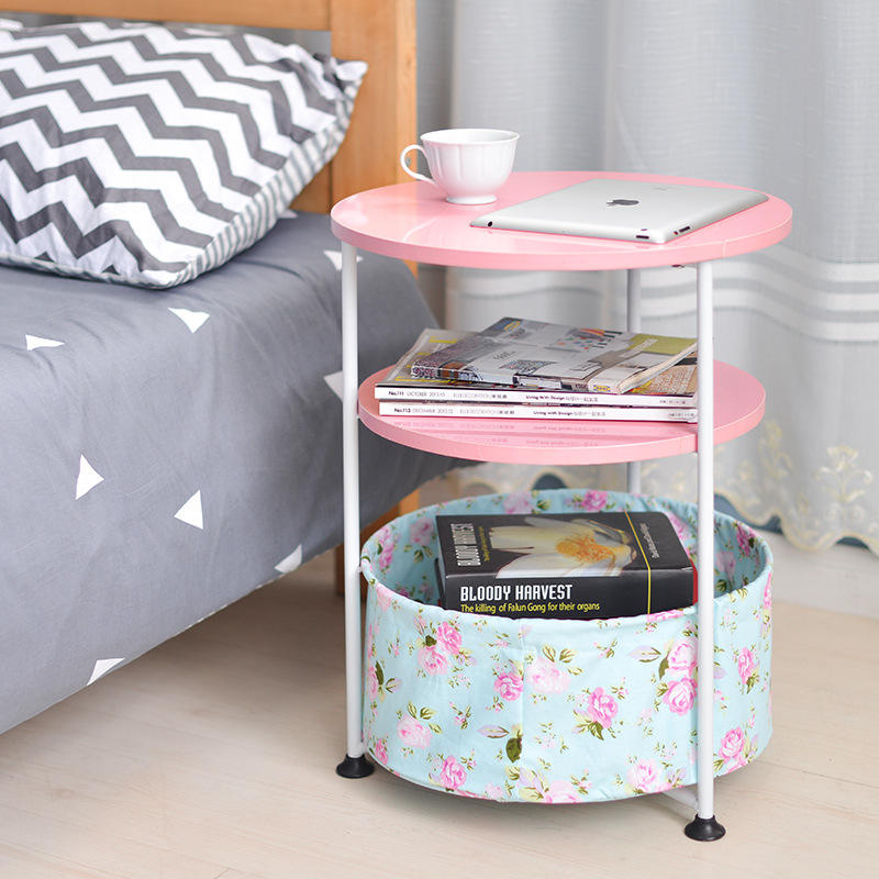 Side Table Living Room Bedroom Sofa Modern Coffee Bed Bedside Small Accent End Round Wood Side Table With Fabric Storage Basket