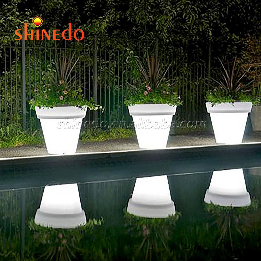 Hermosa de plástico al aire libre/luz led interior jardinera maceta decoración jardín led maceta