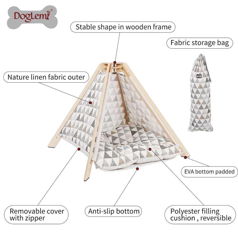 One-Stop Service Nature Canvas Pet Teepee Tent Wood Tipi Dog Cat House