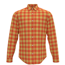 Custom Made Spring 100% Cotton Long Sleeve Orange Plaid Shirts For For Adult