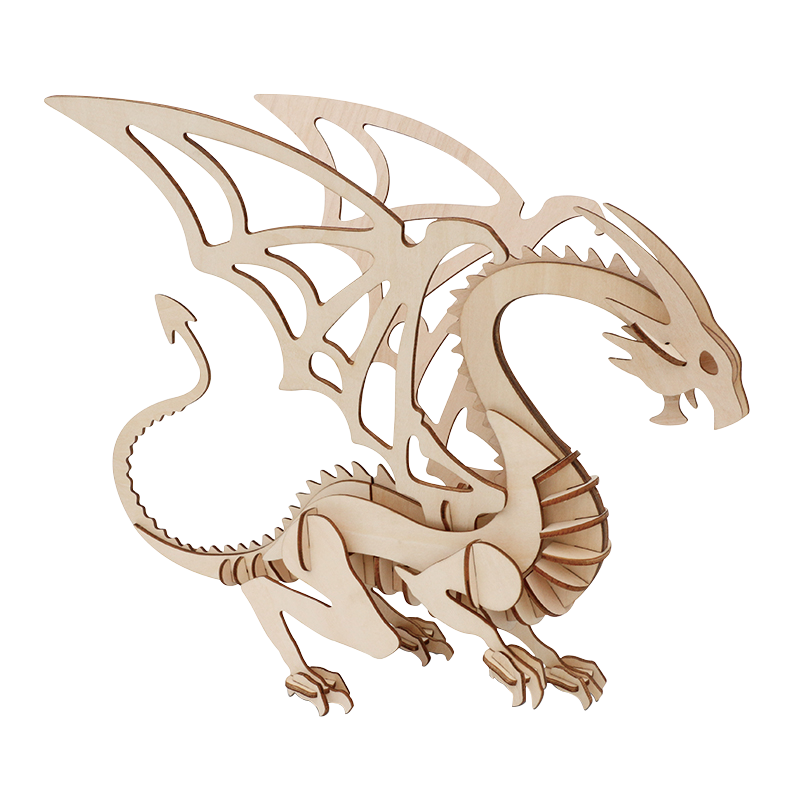 Laser cutting DIY dinosaur toy 3D wooden jigsaw puzzle toy assembly model tree craft kit table decoration children