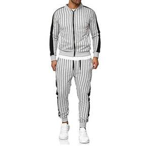New Men'S Striped Sports Suit Casual Sports Jacket Cardigan Outdoor Sports And Leisure Runners Suit