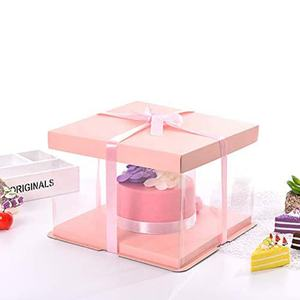 Transparent plastic birthday cake bread box Transparent baking biscuit display box with high-rise gift toy box