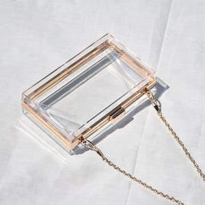 Wholesale Trendy mrs women clear acrylic chains purse evening box clutch bag