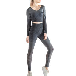 Tikwalk high waisted gym sets yoga suit seamless mesh long sleeves top for girls with leggings women workout fitness sport wear