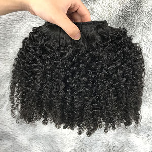 New texture 10pc 160g~220g Natural human hair extensions raw kinky curly hair clip ins