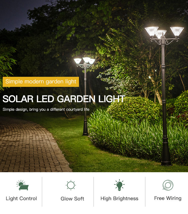 Lamp Outdoor Solar Garden Outside Pathway Landscape Powerful Led Solar Lamp Garden Outdoor Post
