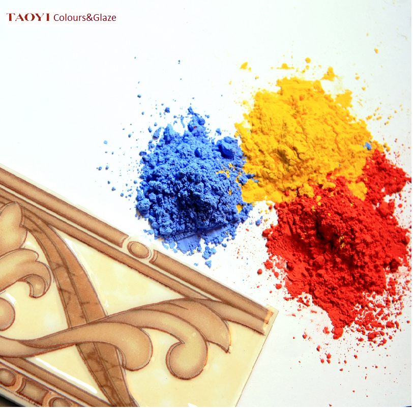 980C yellow color 2nd firing inorganic ceramic on glaze pigment color powder