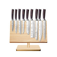 9 pcs German 1.4116 Steel Kitchen Knives Set with Pakka Wood Handle Damascus Pattern Chef Bread Bone Santoku Slicing Knife