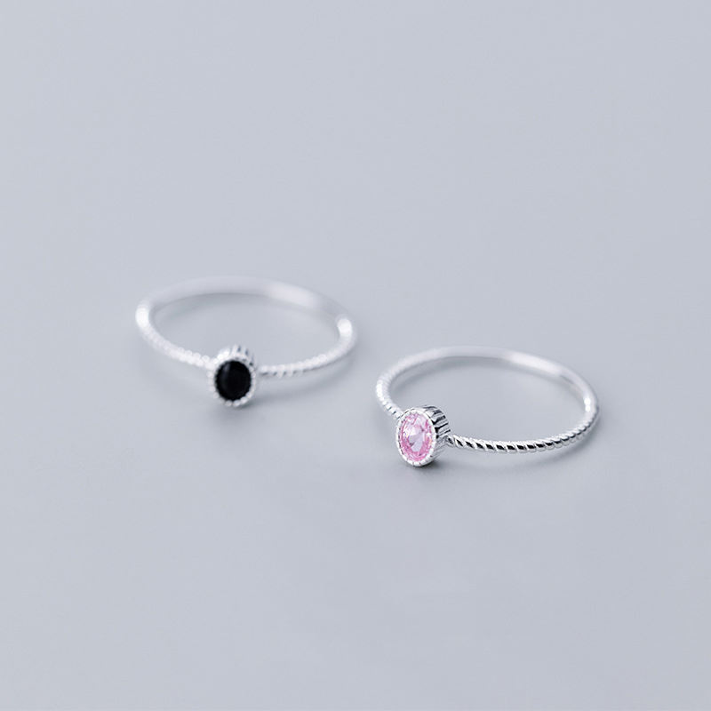 Genuine 925 Sterling Silver Dazzling Black Pink CZ Rings Size 5 6 7 8 Wonderful For Women Girls Teen Lady's Gift