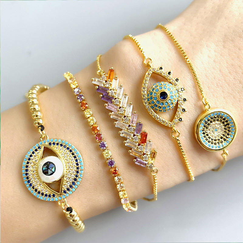 Greece Gold Charms Exquisite Evil Eyes Bead Cz Infinity Engagement Bling Iced Outed Link Cuff Bracelet For Women Girl