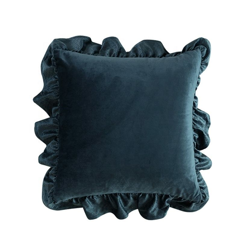 Nordic sofa ins girl pillow solid color fish scale jacquard home velvet cushion cover