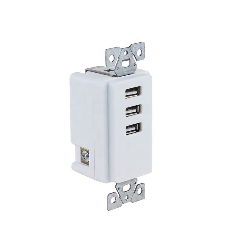 Drie USB Cooper Bedrading Apparaten 20 Amp Wit Decorateur Toepassing AARDLEKSCHAKELAAR Outlet